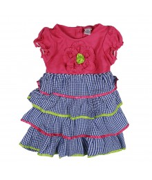Youngland Blue Checkered Tiered Seersucker Dress Little Girl