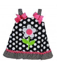 Youngland Blk/Wht Dotted Sundress Wt Flower N Checkered Hem