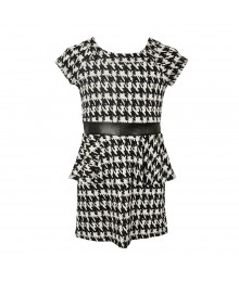 Speechless Ivory/Black  Peplum Dress With Faux Belt Little Girl