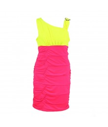 Amy Byer Pink/Neon Yellow Color Block  Body Con Dress