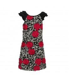 Rare Editions  Black/Fush Soutache With Zebra Print Soutache Dress