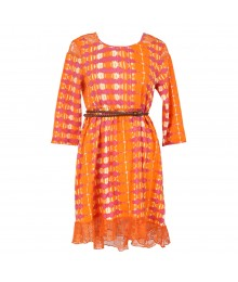 Jessica Simpson Orange Tie-Dye Hi-Lo Belted Dress With Lace Details