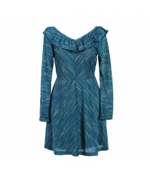 Zunie Teal Long Sleeve Ruffled Neckline Dress