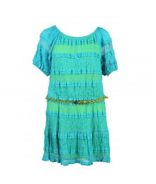 My Michelle Turq Mesh Lace/Lemon Under Dropwaist Belted Dress
