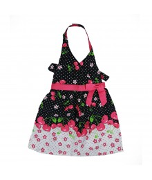 Jessica Ann Black/Fush Cherry Dot Halter Dress Little Girl