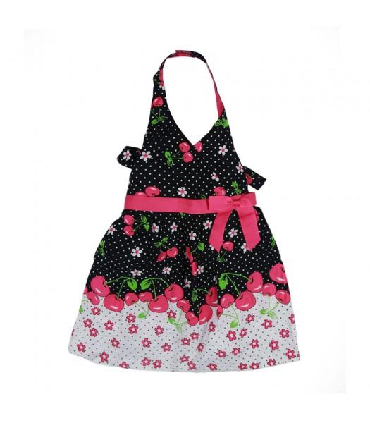 Jessica Ann Black/Fush Cherry Dot Halter Dress