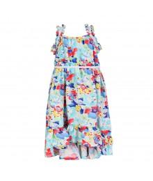 Chaps White/Multi Floral Hi-Lo Maxi Dress