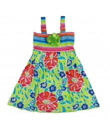 Youngland Lemon Green Multistripped Floral Sundress