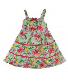 Blueberi Green/Fush Tropical Floral Tiered Sundress