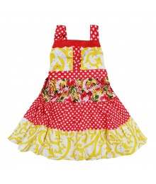 Blueberi  Yellow Floral/Pink Dotted Tiered Sundress