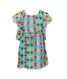 2 Hip Turq/Lime Multi/Pink Cjhiffon Dress Wt Butterfly Sleeves Little Girl
