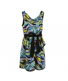 2 Hip Blue/Lemon/Black Multi Chiffon Dress Wt Cowl Neck
