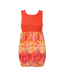 Forever Orchid Orange Tie-Dye Chiffon Pleted With Crochet Lace Dress Big Girl