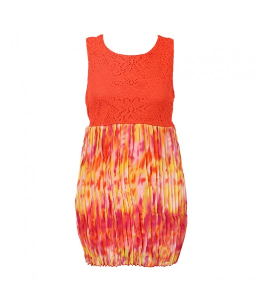 Forever Orchid Orange Tie-Dye Chiffon Pleted With Crochet Lace Dress