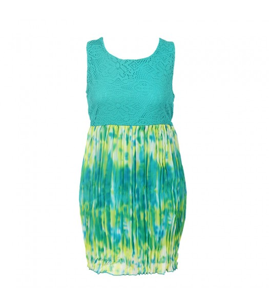Forever Orchid Turq/Lemon Tie-Dye Chiffon Pleted With Crochet Lace Dress