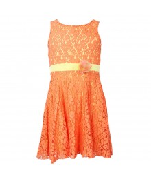 Xtraordinary Peach Lace Sleeveless Dress Wt Yellow Underlay