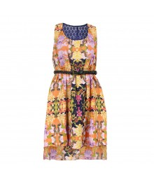 Sequin Hearts Orange/Lilac Floral Printed Belted Dress