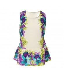 Takara Ivory/Multi Turq/Lilac Floral Print Peplum Top