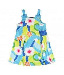 Gymboree Blue Floral Print 6pc Swirl Kint Dress