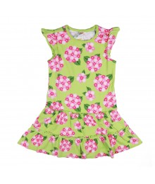 Gymboree Green Wt Pink Flower Print Tiered Knit Dress