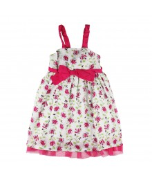 Penelope With Pink Rose Print Sun Dress Little Girl