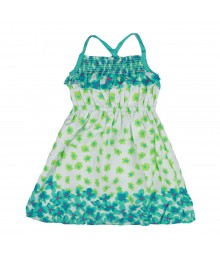 Penelope White Sundress With Green/Aqua Petal Print