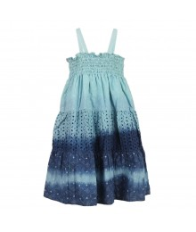 Penelope Mack Boho Blue Tie-Dye Ombre Smoked Dress Little Girl