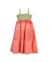 Penelope Mack Boho Peach Tie-Dye Ombre Smoked Dress