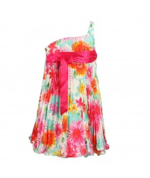 Bonnie Jean Fushcia Multi Floral One Shoulder Pleated Dress Wt Empire