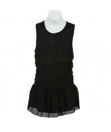 Moa Moa Black Soutache Peplum Top Juniors