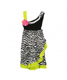 Rare Edition Black Zebra One Shoulder Dress Little Girl