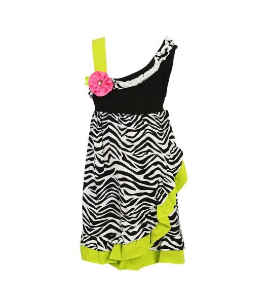 Rare Edition Black Zebra One Shoulder Dress