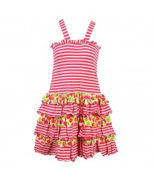 Bonnie Jean Fuchsia Striped/Dotted Tiered Dress Little Girl