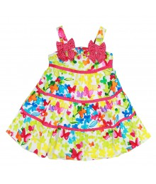 Youngland Floral Multi Colored Butterfly Tiered Sun Dress