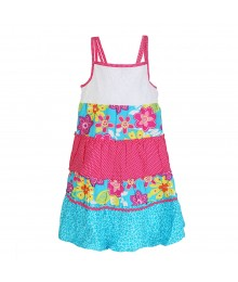 Youngland Turq/Pink Tiered Sundress With White Crochet