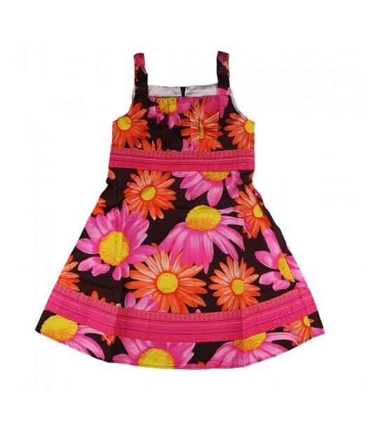 Bonnie Jean Pink/Brown Floral Sundress