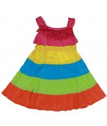 Youngland Multi Colorblock Tiered Gauze Sundress