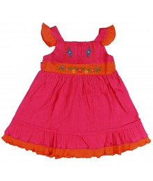 Sophie Rose Pink/Orange Ruffled Sundress Little Girl