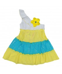 Youngland White/Yellow/Turq Asymmetrical Dress
