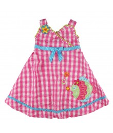 Youngland Pink Fish Seersucker Sundress