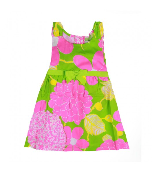 Rare Editions Pink/Lime Floral Sundress