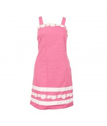 Kc Parker Pink Pique Spagh Dress Wt Lace Trimmings