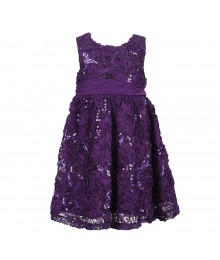 Rare Editions Purple Soutache Dress