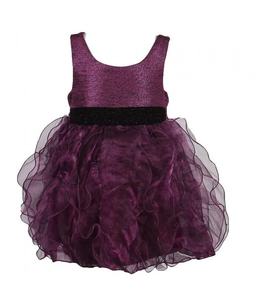 Bonnie Jean Purple Ruffled Organza Dress Little Girl