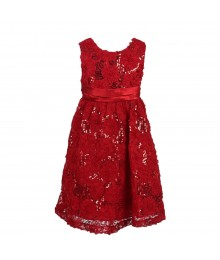 Rare Editions Red Sequin Flower Dress