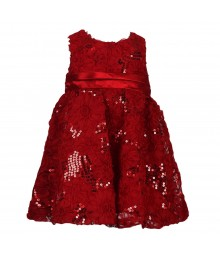 Rare Editions Red Rosette Soutache Dress