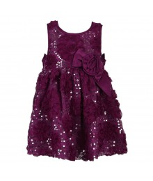 Bonnie Jean Purple Sequined Floral Dress