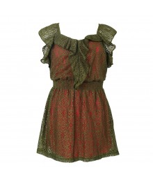 2 Hip Olive Lace On Fush Underlay Front Ruffle Dress