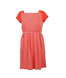 Soprano Coral Stripped Boat Neck Knit Dress