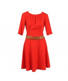 B Darlin Red Jacquad Lycra Dress Wt Tan Belt